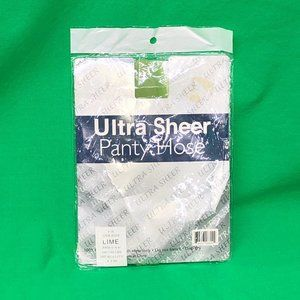 Vintage New Ultra Sheer Lime Green Pantyhose